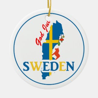 Sweden Map Flag and God Jul