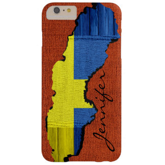 Sweden Map Flag Burlap Wood Look Barely There iPhone 6 Plus Case