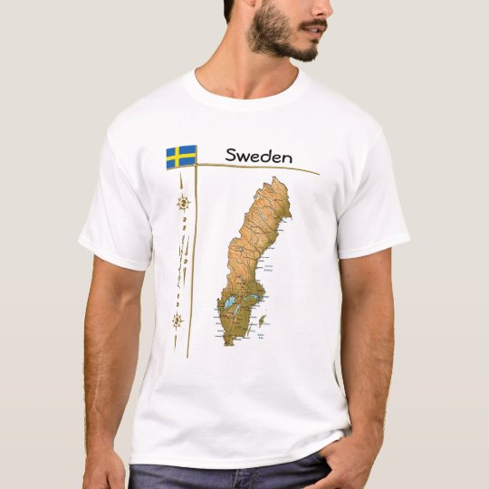Sweden Map + Flag + Title T-Shirt