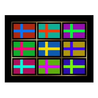 Sweden Multihue Flags Postcard