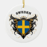 Sweden Double-Sided Ceramic Round Christmas Ornament