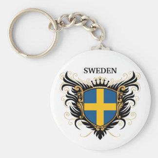 Sweden [personalize] basic round button keychain