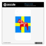 Sweden Red Dala Horse Skin For iPhone 4