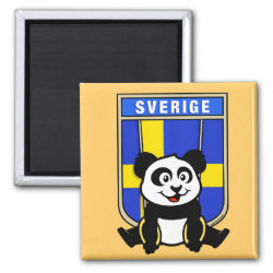 Square Magnet with Swedish Rings Panda design