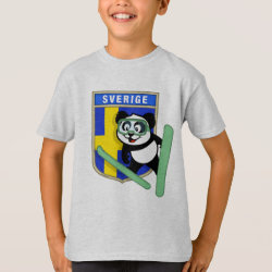 Kids' Hanes TAGLESS® T-Shirt with Swedish Ski-jumping Panda design