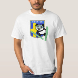 Men's Crew Value T-Shirt with Swedish Ski-jumping Panda design