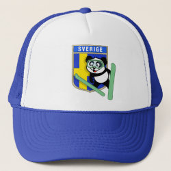 Trucker Hat with Swedish Ski-jumping Panda design