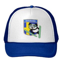 Trucker Hat with Swedish Ski-jumping Panda design