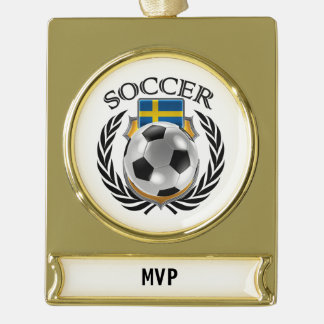 Sweden Soccer 2016 Fan Gear Gold Plated Banner Ornament