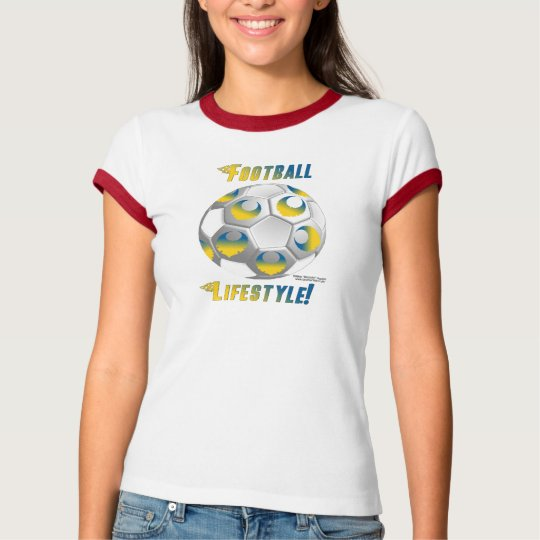 Sweden Soccer Lifestyle Ladies Ringer T T-Shirt