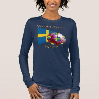 Sweden Soccer Power Ladies Long Sleeve Shirt