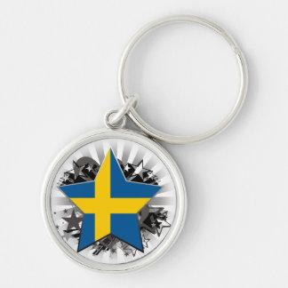 Sweden Star Silver-Colored Round Keychain