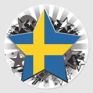 Sweden Star Round Sticker