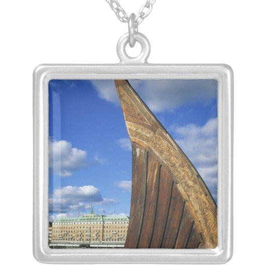 Sweden, Stockholm, harbor, from Gamla Stan, Silver Plated Necklace