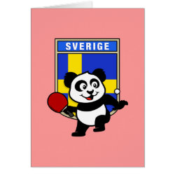 Greeting Card with Sweden Table Tennis Panda design