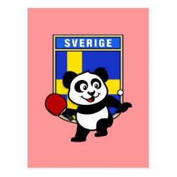 Postcard with Sweden Table Tennis Panda design