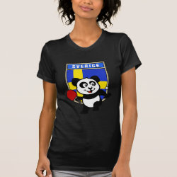 Women's American Apparel Fine Jersey Short Sleeve T-Shirt with Sweden Table Tennis Panda design