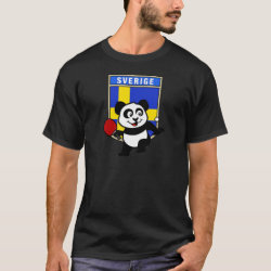Men's Basic Dark T-Shirt with Sweden Table Tennis Panda design