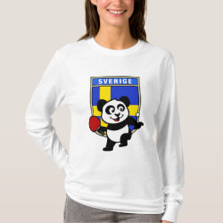 Women's Basic Long Sleeve T-Shirt with Sweden Table Tennis Panda design