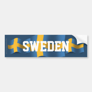 Sweden Waving Flag Bumper Sticker