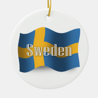 Sweden Waving Flag Double-Sided Ceramic Round Christmas Ornament