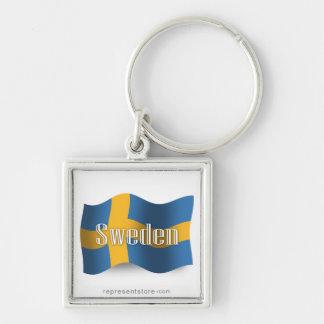 Sweden Waving Flag Keychain