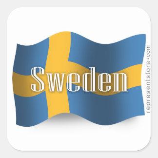 Sweden Waving Flag Square Sticker