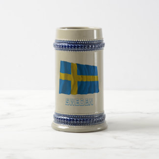 Sweden Waving Flag with Name 18 Oz Beer Stein
