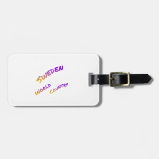 Sweden world country, colorful text art bag tag