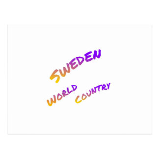 Sweden world country, colorful text art postcard