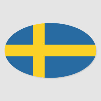 Sweden's Flag Oval Sticker