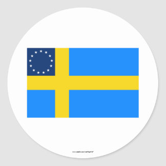 Swedish-American Flag Classic Round Sticker