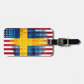 Swedish American Flag | Wood Grain | Name Address Luggage Tag