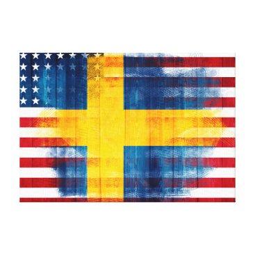USA Themed Swedish American Flag | Wood Grain & Paint Strokes Canvas Print