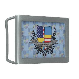 Swedish-American Shield Flag Rectangular Belt Buckle