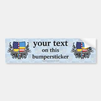Swedish-American Shield Flag Car Bumper Sticker