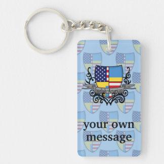 Swedish-American Shield Flag Double-Sided Rectangular Acrylic Keychain