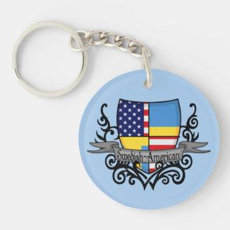 Swedish-American Shield Flag Double-Sided Round Acrylic Keychain