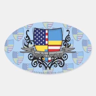 Swedish-American Shield Flag Oval Sticker