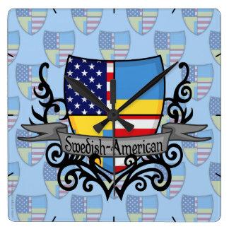 Swedish-American Shield Flag Square Wall Clock