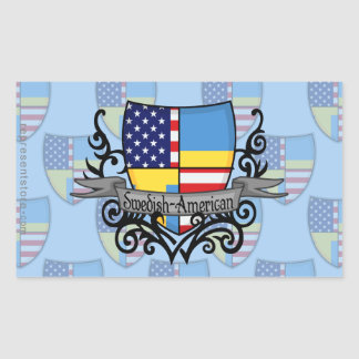 Swedish-American Shield Flag Rectangular Sticker