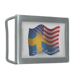 Swedish-American Waving Flag Belt Buckle