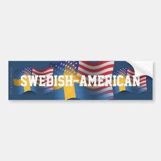 Swedish-American Waving Flag Car Bumper Sticker