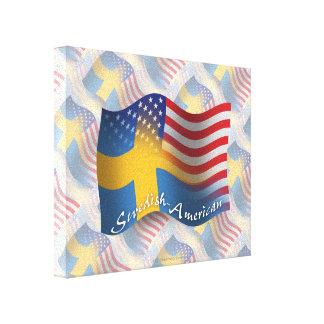 Swedish-American Waving Flag Canvas Print