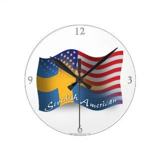 Swedish-American Waving Flag Round Wallclocks