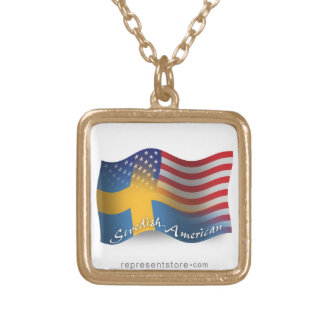 Swedish-American Waving Flag Gold Plated Necklace