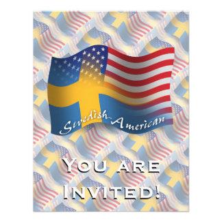 Swedish-American Waving Flag Custom Invitations