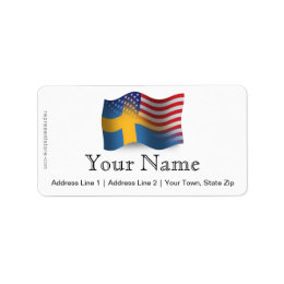 Swedish-American Waving Flag Label