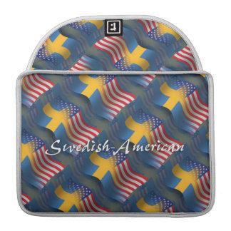 Swedish-American Waving Flag MacBook Pro Sleeves