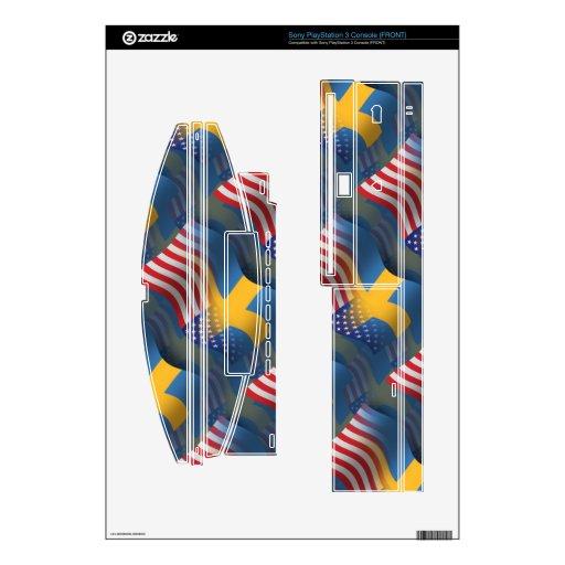 Swedish-American Waving Flag PS3 Decal